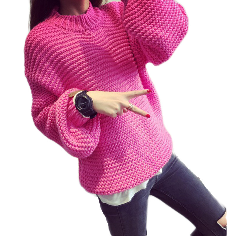 2015 Autumn Winter Fashion Loose Women Pullover Knitted Christmas Sweater Jumper Long Puff Sleeve Oversize Knitwear Pull Femme