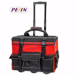 "18"" Rolling Tool Bag Wide Mouth Opening with Handle trolley"