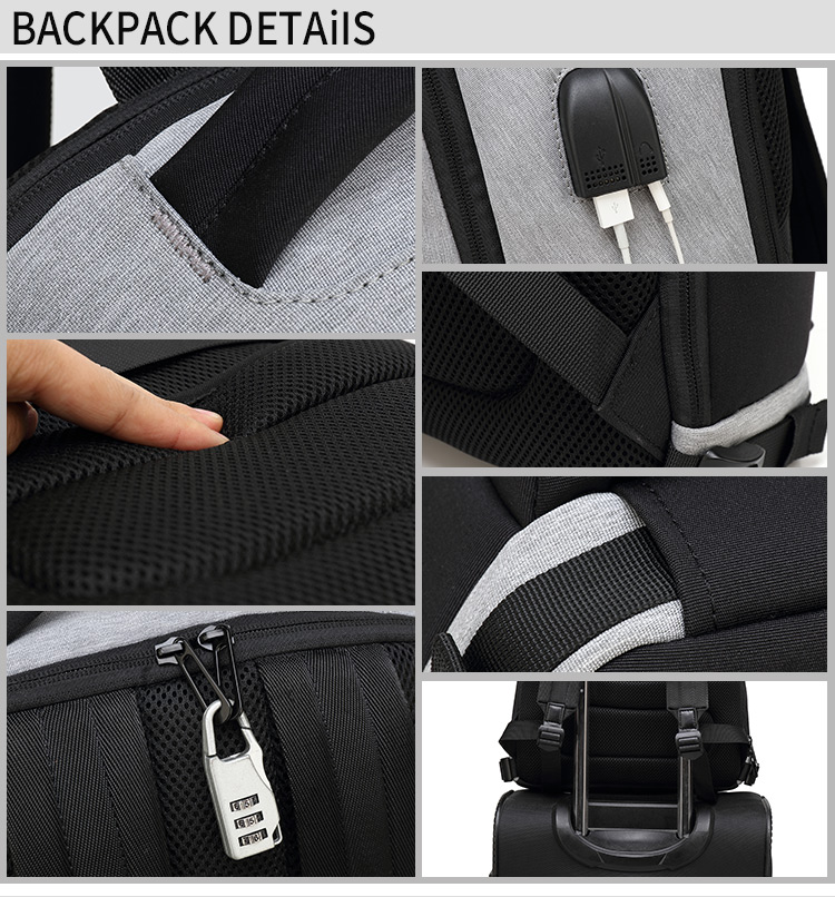Waterproof business bag backpack with usb charge port backpack can be set on the draw bar bag