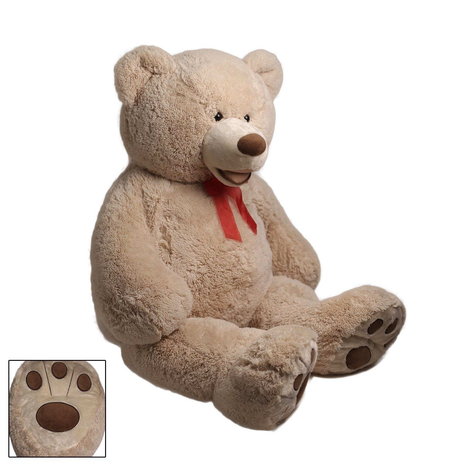 HollyHOME Teddy Bear Plush Giant Teddy Bears Stuffed Animals Teddy Bear Love Big Footprints 5 Feet Tan