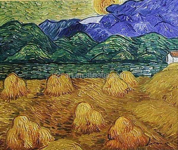 Van Gogh oil painting autumn wheat field pictures