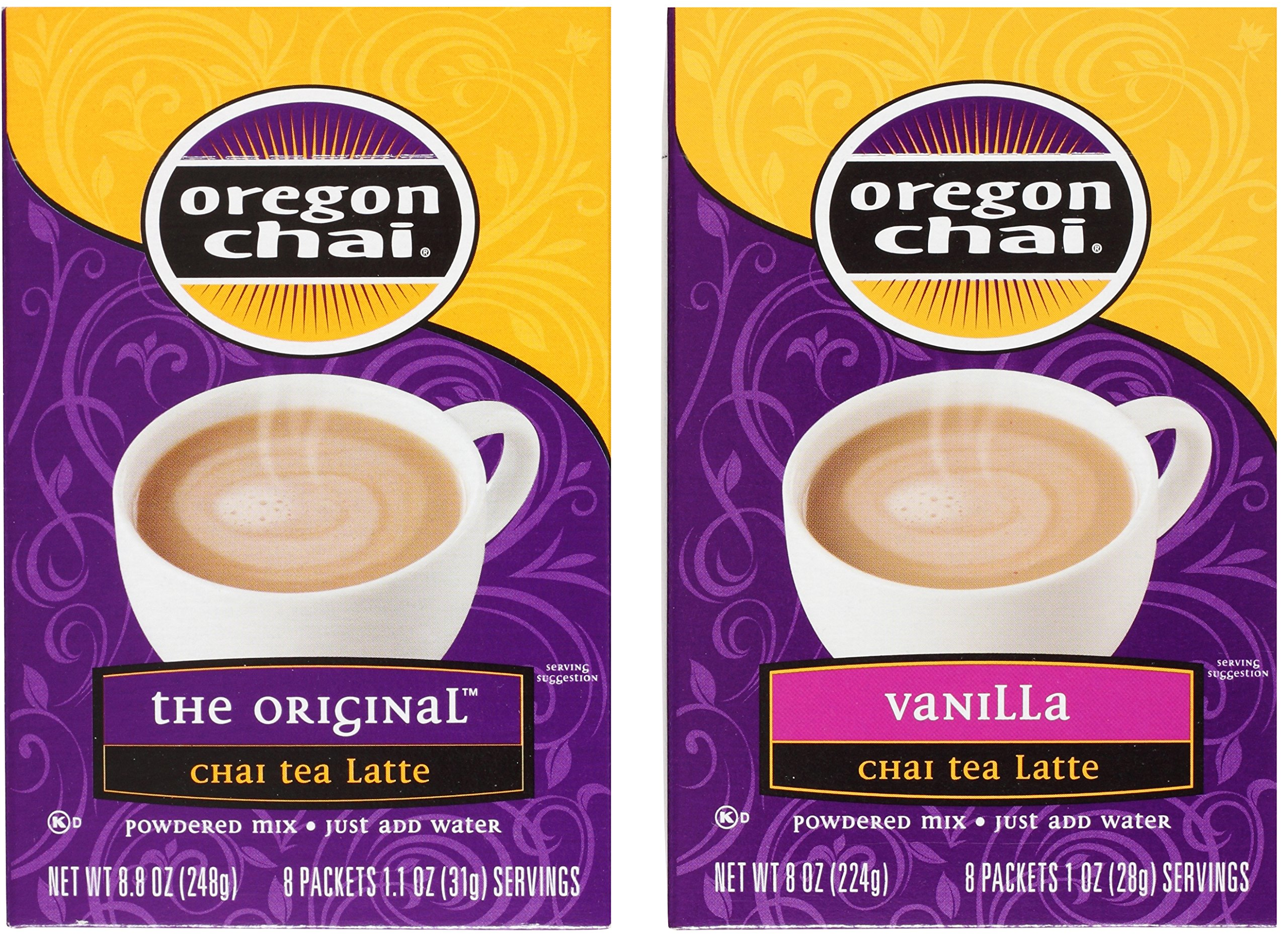 Oregon Chai Tea Latte Packets Variety Bundle: (1) Original Chai 8.8oz and (1) Vanilla Chai 8oz (2 Pack Total)