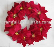 "18"" Christmas Flower Wreath With Led Light Chain"