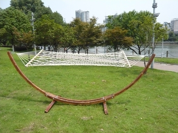 wooden curved arc hammock stand free standing hammock