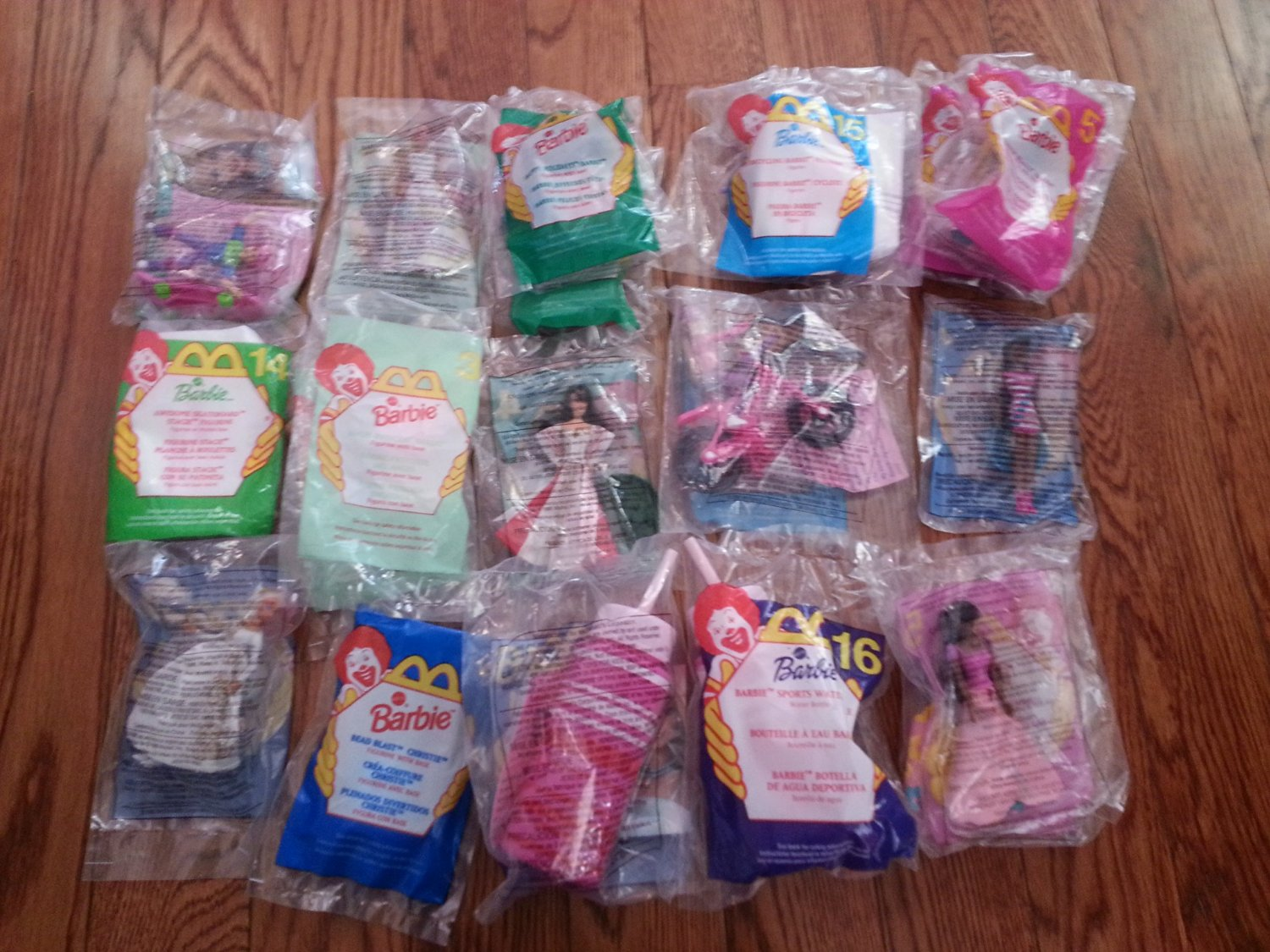 McDonalds Vintage Barbie Figures lot of 20. Great for Birthday Party Favors and Gifts Etc. Includes 2 Awesome Skateboarder, 3 Angel Princes, 3 Happy Holidays, 2 Bicycling, 5 Blossom Beauty, 1 Wedding Rapunzel, 2 Bead Blast, and 2 Sports Water Bottle.