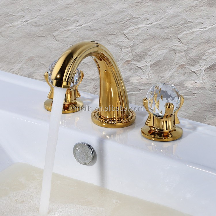 Classic Style Gold Basin Taps 3 Hole Wash Basin Mixer Tap Bathroom Tapware with Crystal Handles MLFALLS