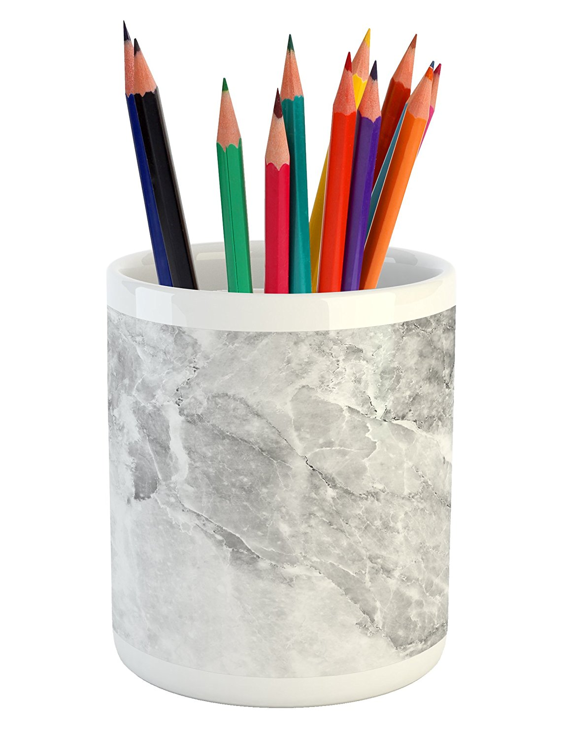 Marble Pencil Pen Holder by Lunarable, Retro Marble Pattern with Blurry Color Contrasts Formless and Abstract Wavy Display, Printed Ceramic Pencil Pen Holder for Desk Office Accessory, Grey White