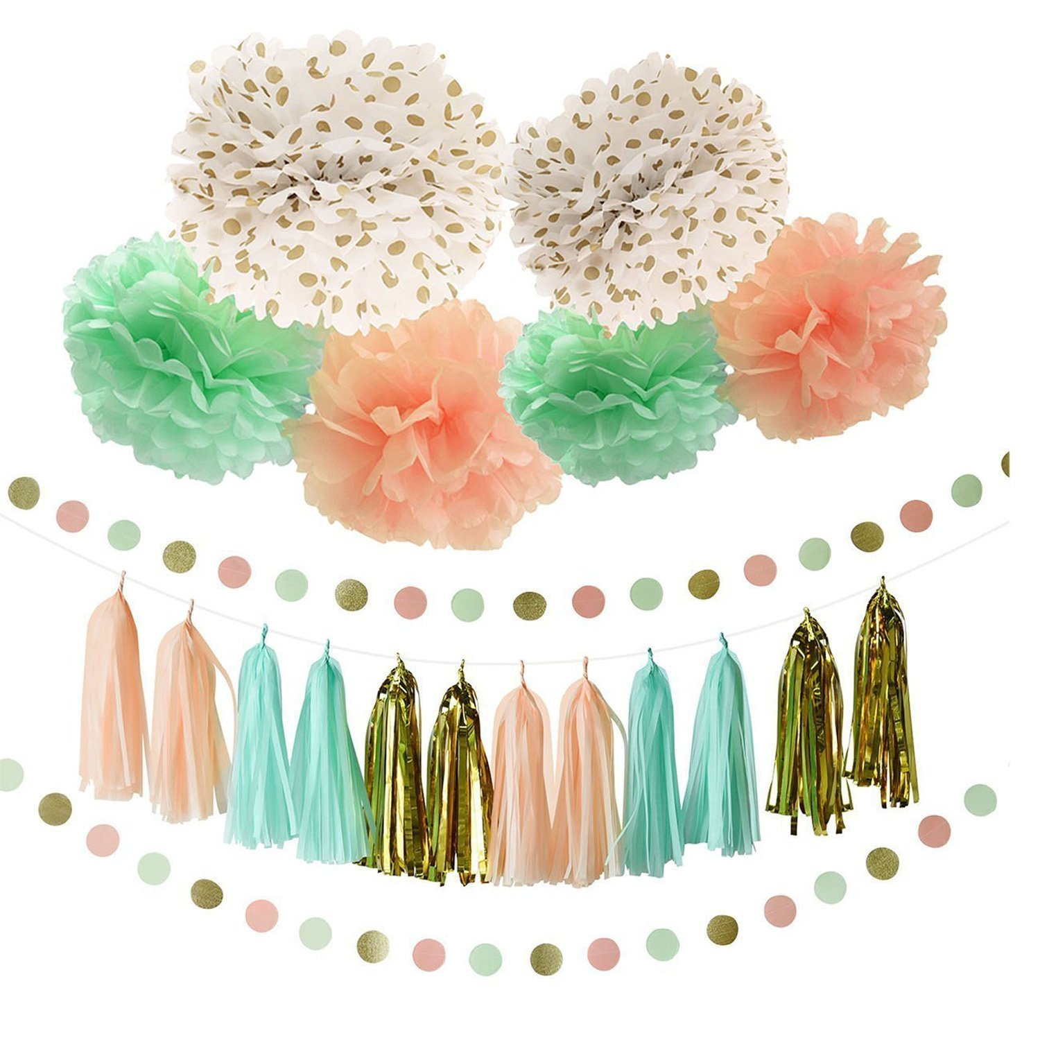 Set of 12 Peach Mint Green Ivory Paper Honeycomb Balls Girl Baby Shower Wedding Party Nursery Backdrop Decoration