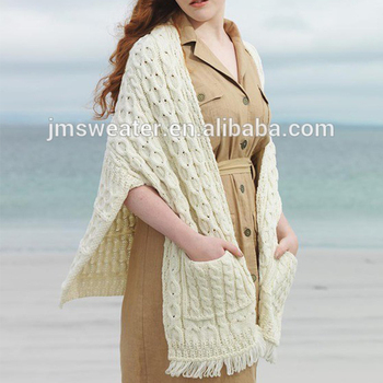 OEM new style lady sweater 3GG cable knit long tippet cardigan with pocket