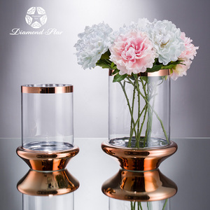 wholesale handmade home decor type of wedding mercury round glass rose gold vases flower
