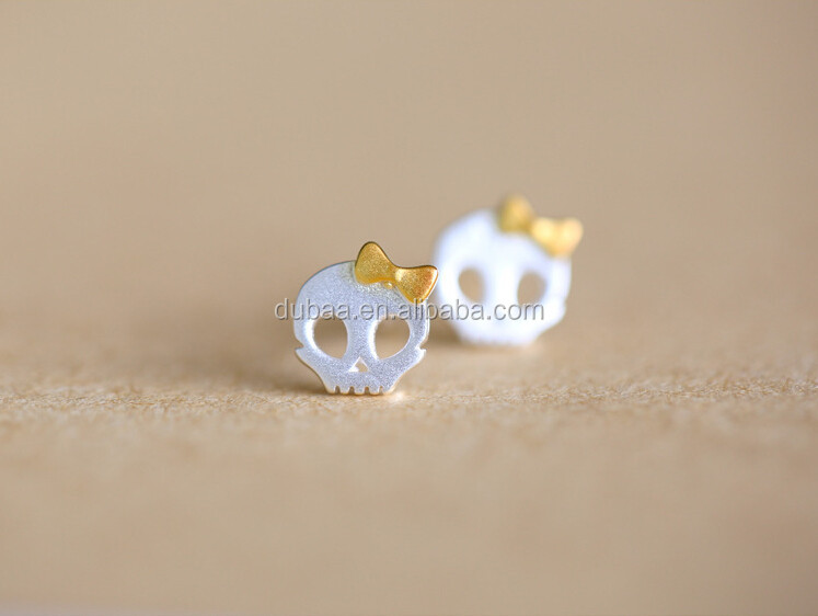925 Sterling Silver Skull Children Plugback Baby Girls Earrings