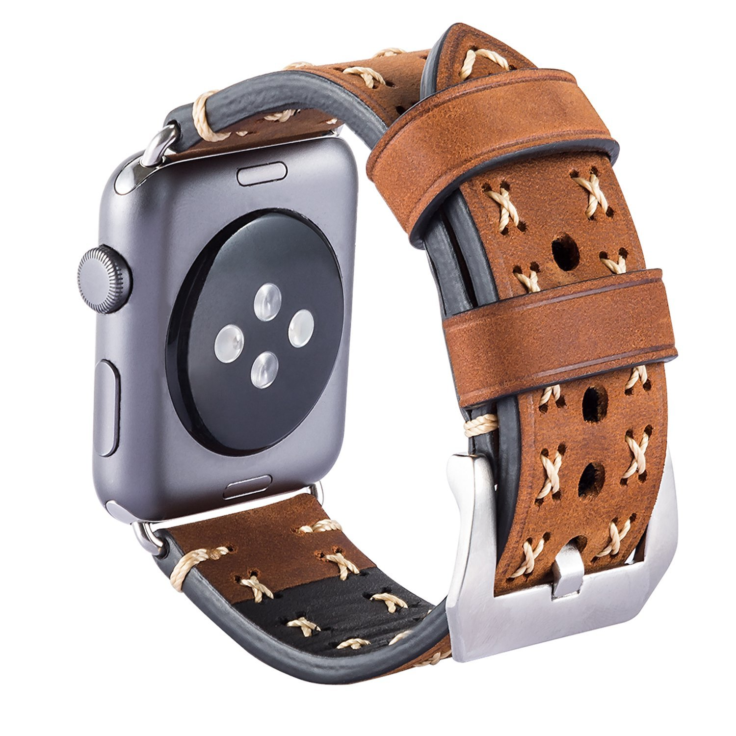 Apple Watch Band, 42mm iBazal Apple Watch Leather Band iWatch Strap Replacement Watchband with Stainless Steel Buckle for All 42mm Apple Watch Series 1 & Series 2 Sport & Edition (Vintage Brown 42mm)