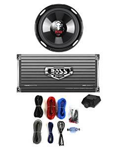"""BOSS P106DVC 10"""" 2100W Subwoofer Sub + AR16002 1600W 2-Ch Amp + 8 Gauge Amp Kit"""