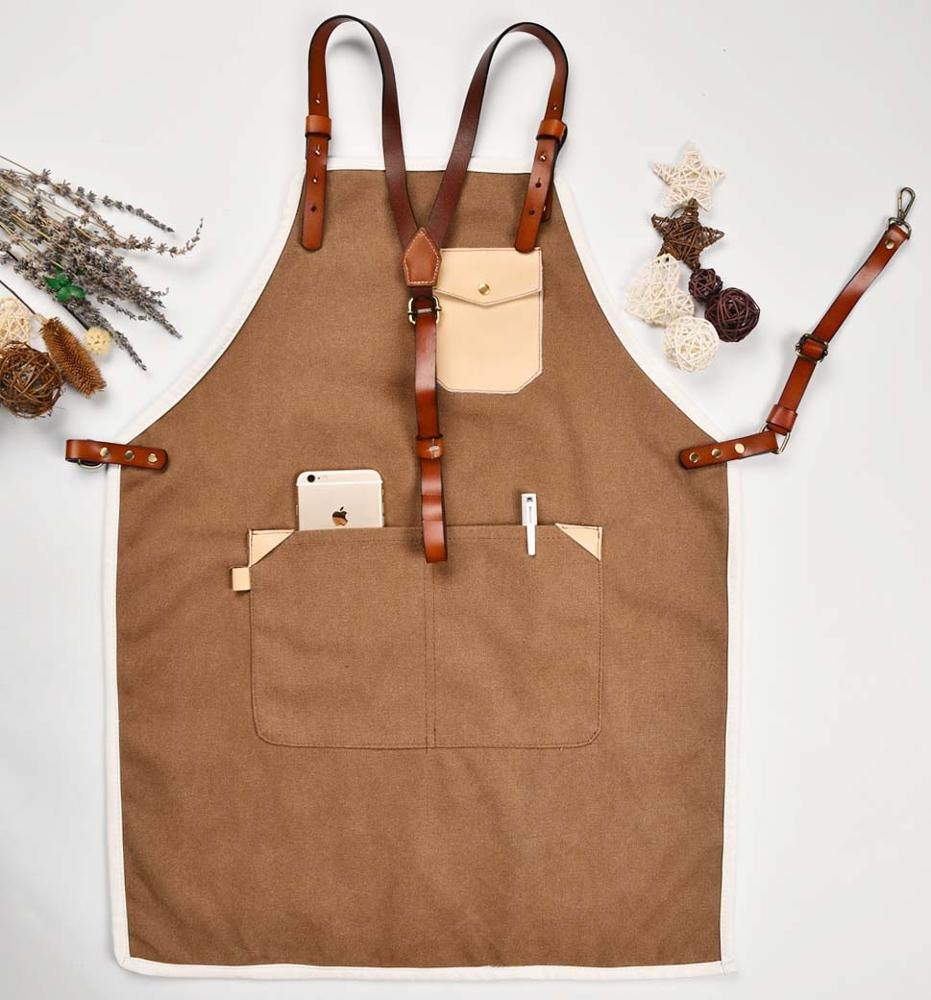 Heavy Denim Canvas Aprons with Cow Leather Cross Back Straps фото