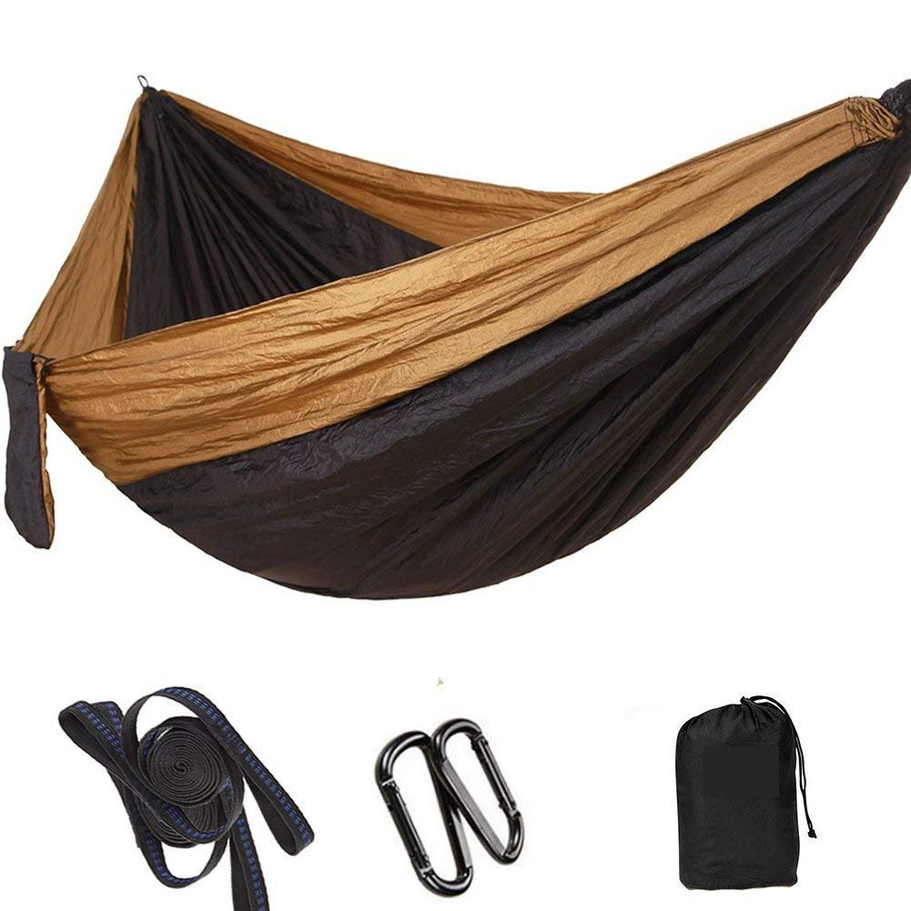 "RAINBEAN Outdoor Camping Hammock with Tree Straps, Double Portable Lightweight Parachute Nylon Garden Hammock, Easy Hanging for Travel, Hiking, Beach, Yard, 118""(L) x 78""(W) Black+ Khaki"