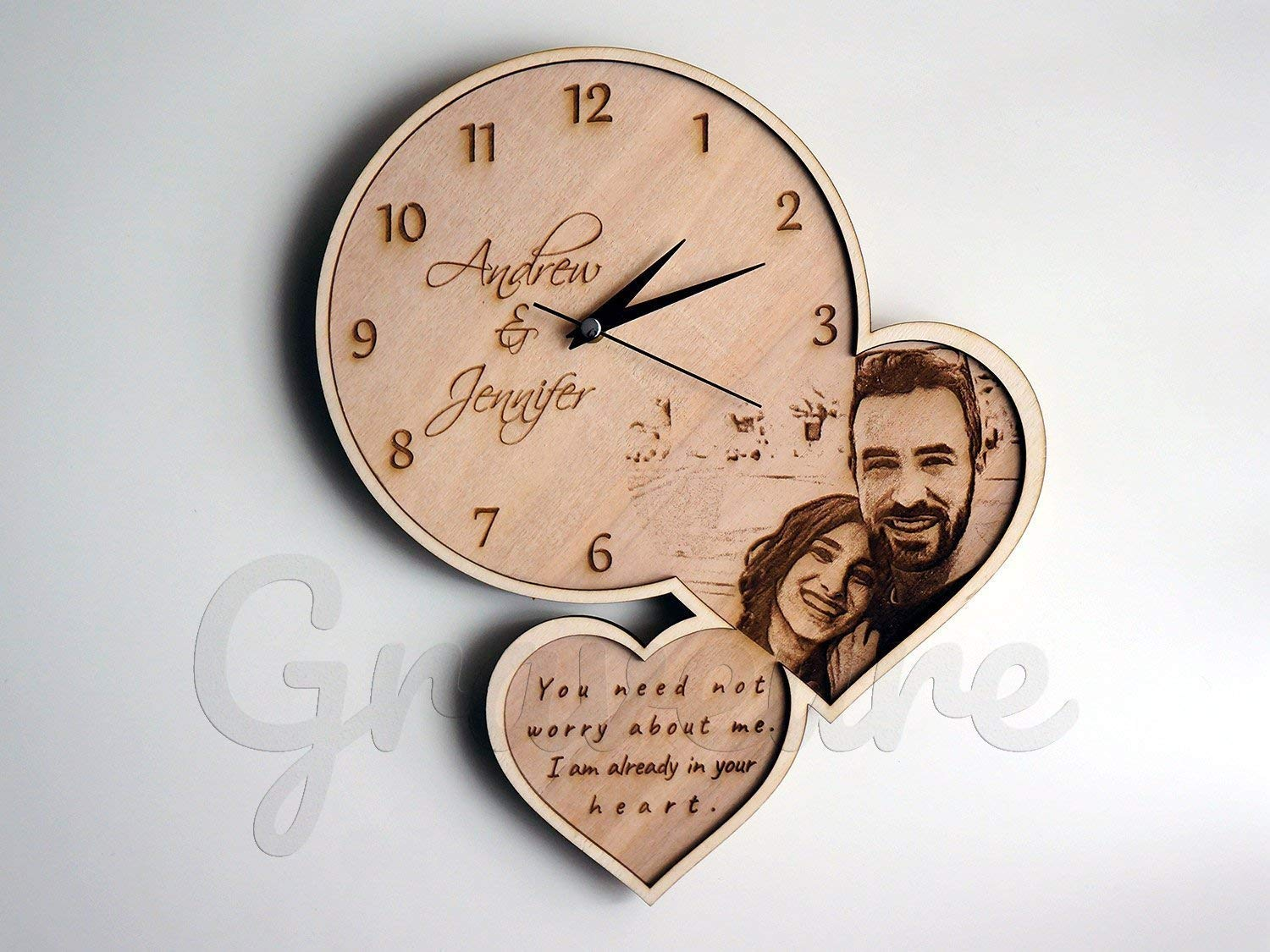 Wood Burned Picture, Your Custom Photo on Wood, Rustic Home Decor, Country Wall Art, Wooden Wall Clock, Customized Wall Clock