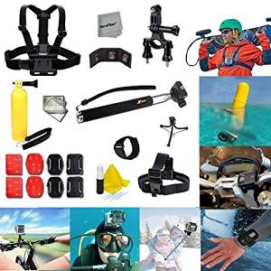 Xtech Ideal 26 Pc. Accessory Kit for GoPro HERO4 Hero 4, GoPro Hero3+ Hero 3+, GoPro Hero3 Hero 3, GoPro Hero2 Hero 2, GoPro Surf Hero, GoPro Hero Naked, GoPro Hero 960 Digital Cameras Includes: Adjustable Head Strap Mount+ Chest Strap Mount + Extendable Handle Monopod + Sealed Floating Bobber