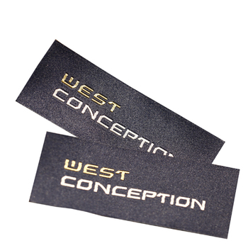 Custom Design Logo End Fold Golden Metallic Thread Damask Woven Clothing Labels for Garment Apparel
