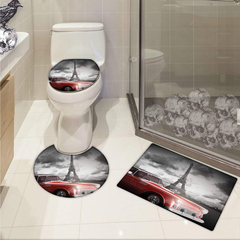 Get Quotations Paris U Shaped Toilet Floor Rug Set Fancy Vintage Car With Tour Eiffel In Cold