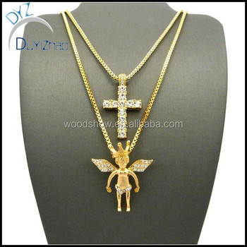 Mens iced out hip hop gold micro crown angel cross pendant box mens iced out hip hop gold micro crown angel cross pendant box chain necklace aloadofball Image collections