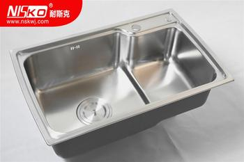 High Quality Galvanized Double Drainboard Water Tank Above Counter Kitchen Sinks