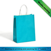 Solid color blue kraft paper clothes packing shopping bag with white paper handle