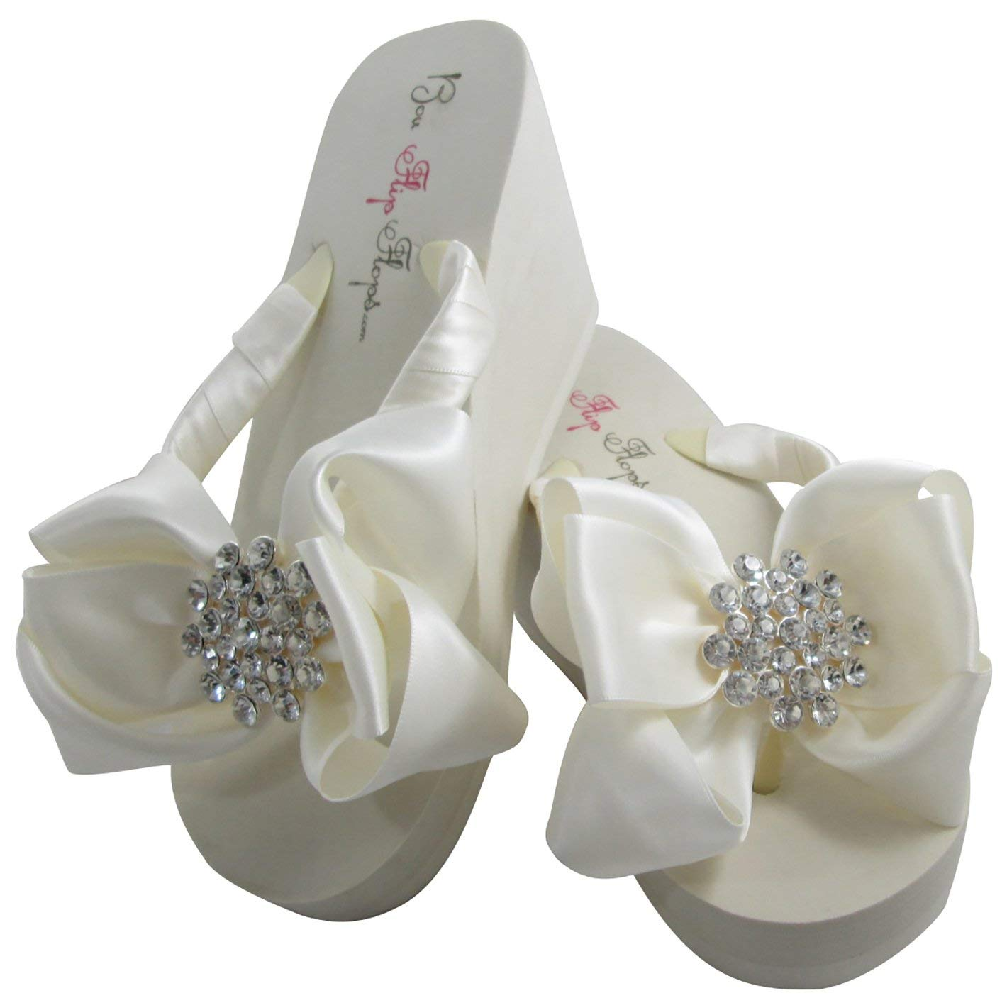 e80d189c4 Get Quotations · Bubbles Jeweled Satin Bow Bridal Flip Flops