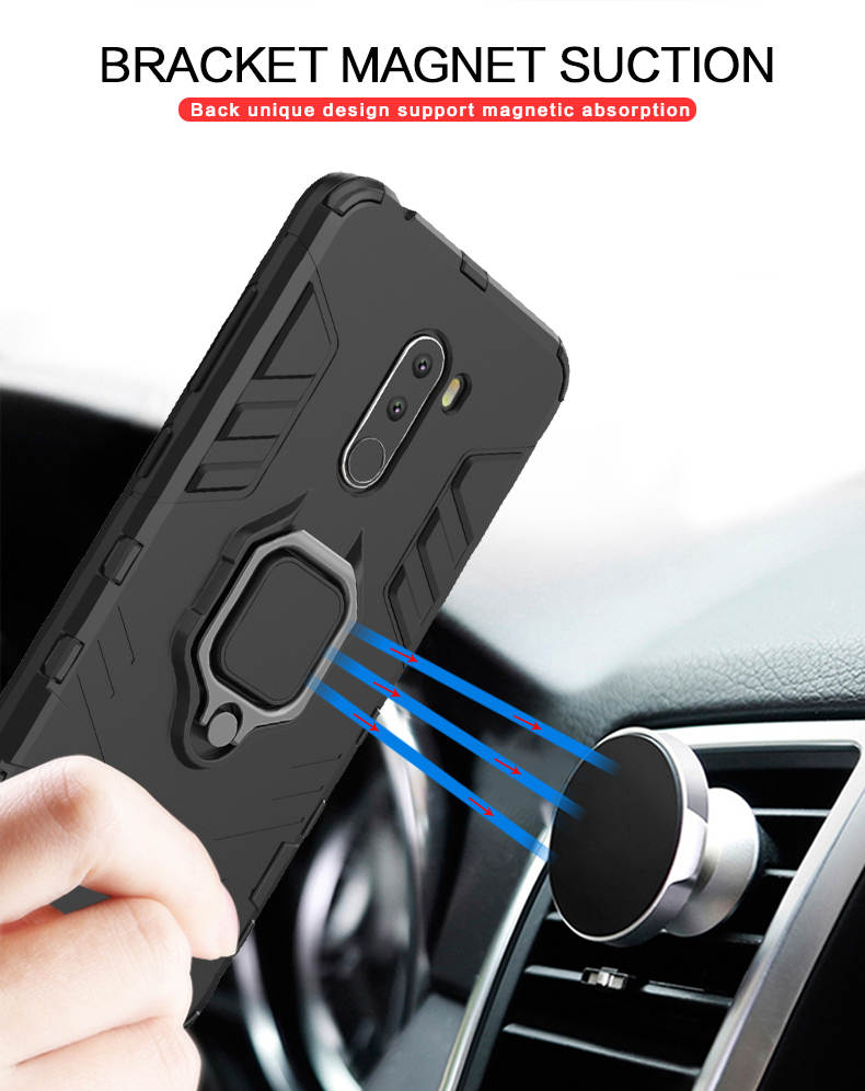 Phone case for xiaomi poco f1, with ring holder funtion back cover for xiaomi pocophone f1