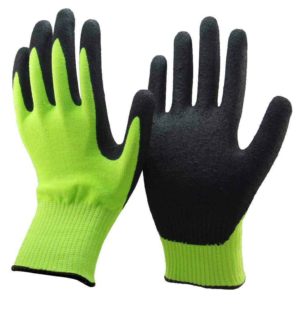 SRSAFETY 13G Knitted nylon liner nitrile coated black work glove/nitrile palm gloves