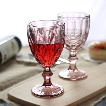 Wholesale household party pink wine glasses goblet crystal material for whiskey