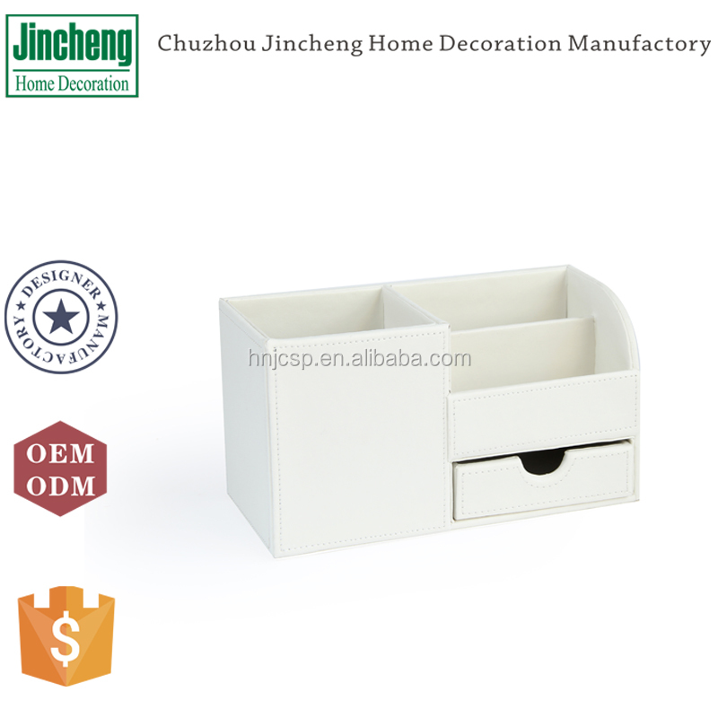 Decorative white plain stitching leather office desk accessories, stationery holder, office stationery holder