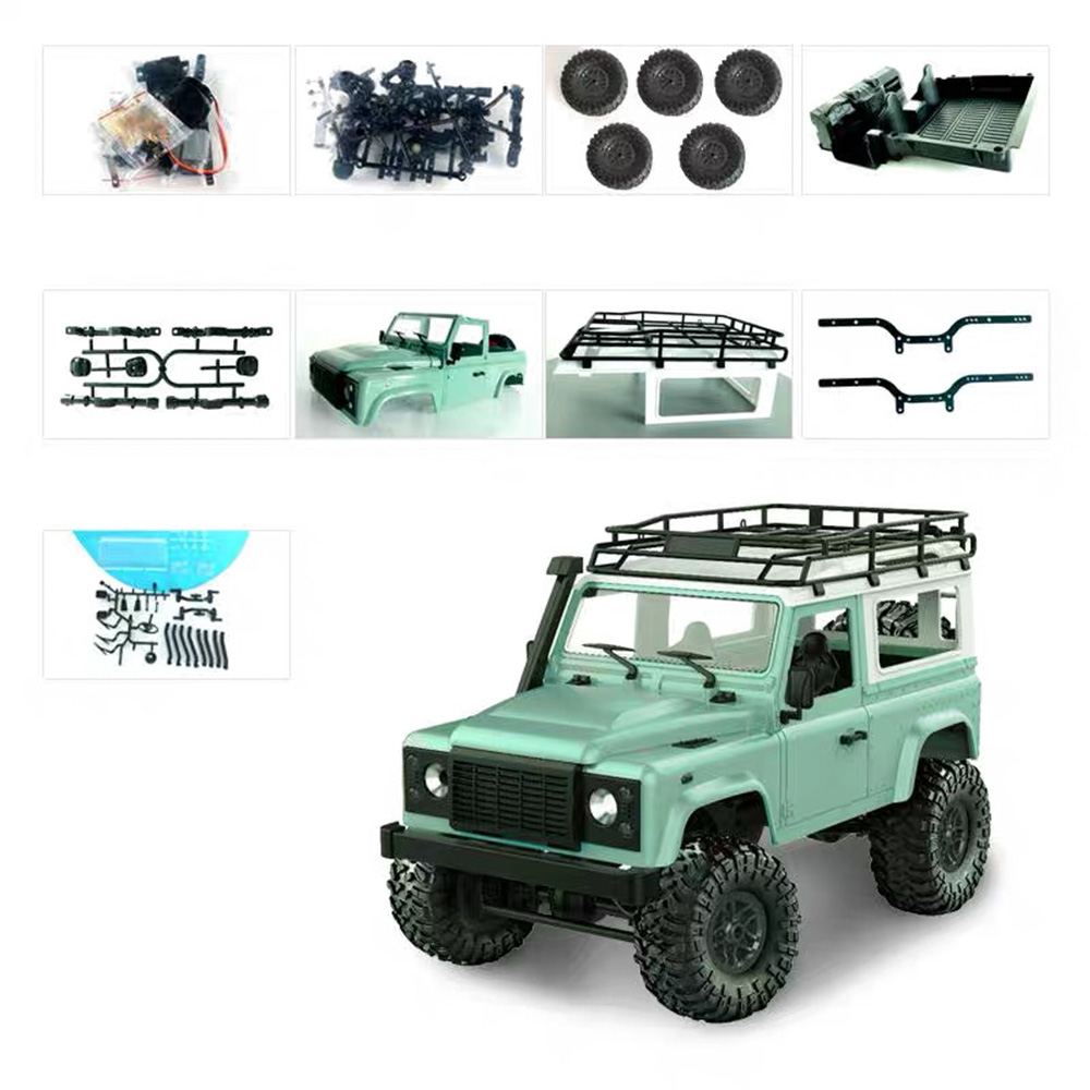 Skala 1:12 RC Car 2.4G 4WD Truk Remote Control Mainan Belum Dirakit Kit 1/12 D90 Defender Pickup RC Rock Crawler mobil