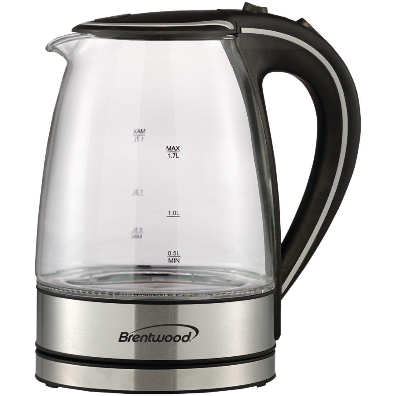 Brentwood Appliances KT-1900BK Tempered Glass Tea Kettles, 1.7-Liter, Black