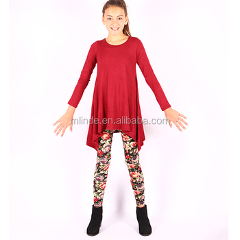 Childrens Boutique Clothing Sets Western Style Casual Plus Size Tunic Top Floral Leggings Set