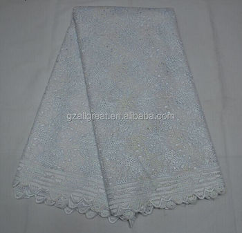 White cotton lace fabric AG2811