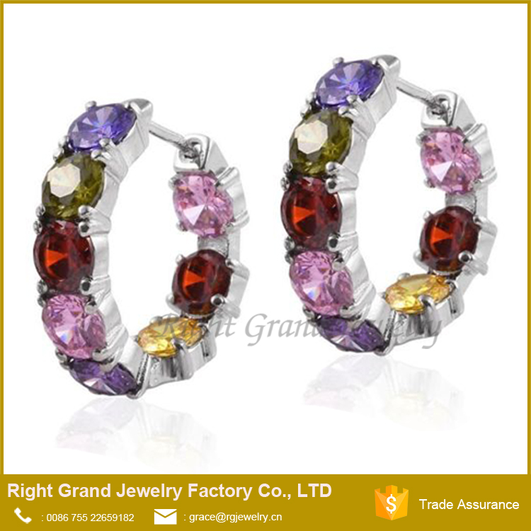 Unique Fashion Rhinestone Double C Bulk Colored Hoop Earrings In Copper Alloy Jewelry