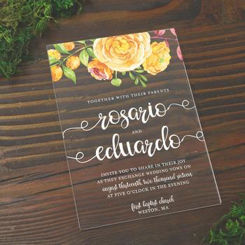Personalizado Hot Stamp Convite De Casamento De Acrílico