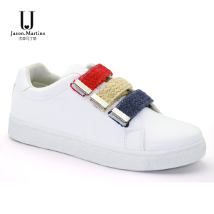 PU leather shoe women sneaker with hook&loop