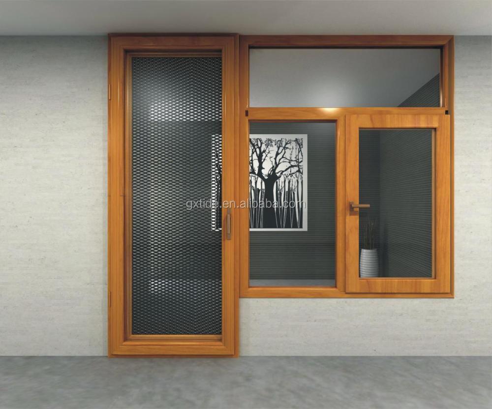 Tan90 seguridad mosquitera ventana de aluminio madera for Ventanas de aluminio con marco de madera