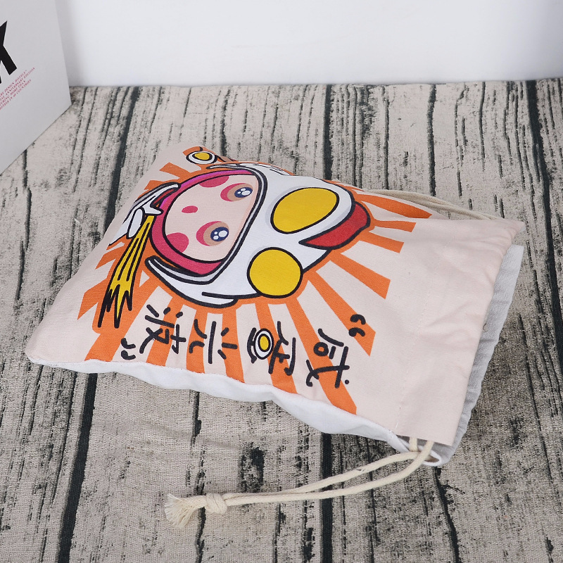 Amazon 100% Canvas Bag Wholesale colorful patterns cute gift pouch gift bag drawstring pouch