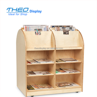 Plain 2 side wooden newspaper magazine book display rack