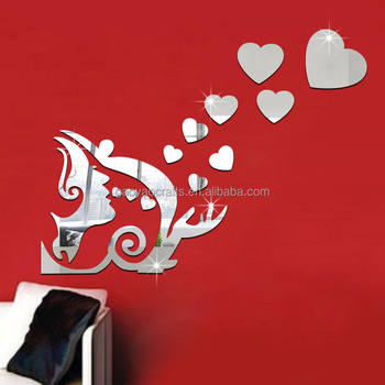 3d lovely mirror hearts home wall stickers decor diy decal - buy