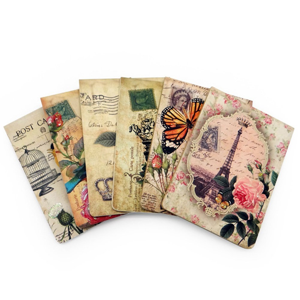 Trycooling Set of 6 Creative Convenient Retro Loose-Leaf Small Notebooks, 40 Sheets/Set