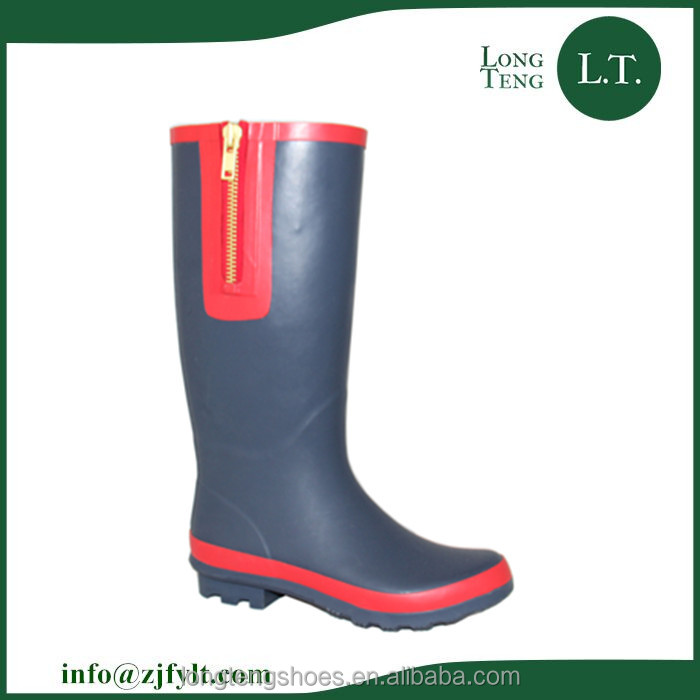 Navy blue warm ran boots with fake zipper /design your own ladies rain boots