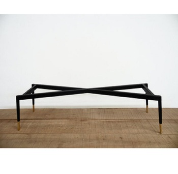 Wrought Iron Metal Table Legs With Powder Coated Black Color Of Cross Creative Design For Dining