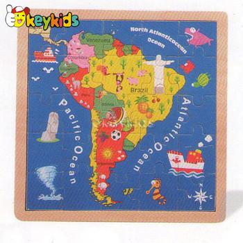 2016 Wholesale Baby Wooden World Map Jigsaw Puzzle Fashion Kids