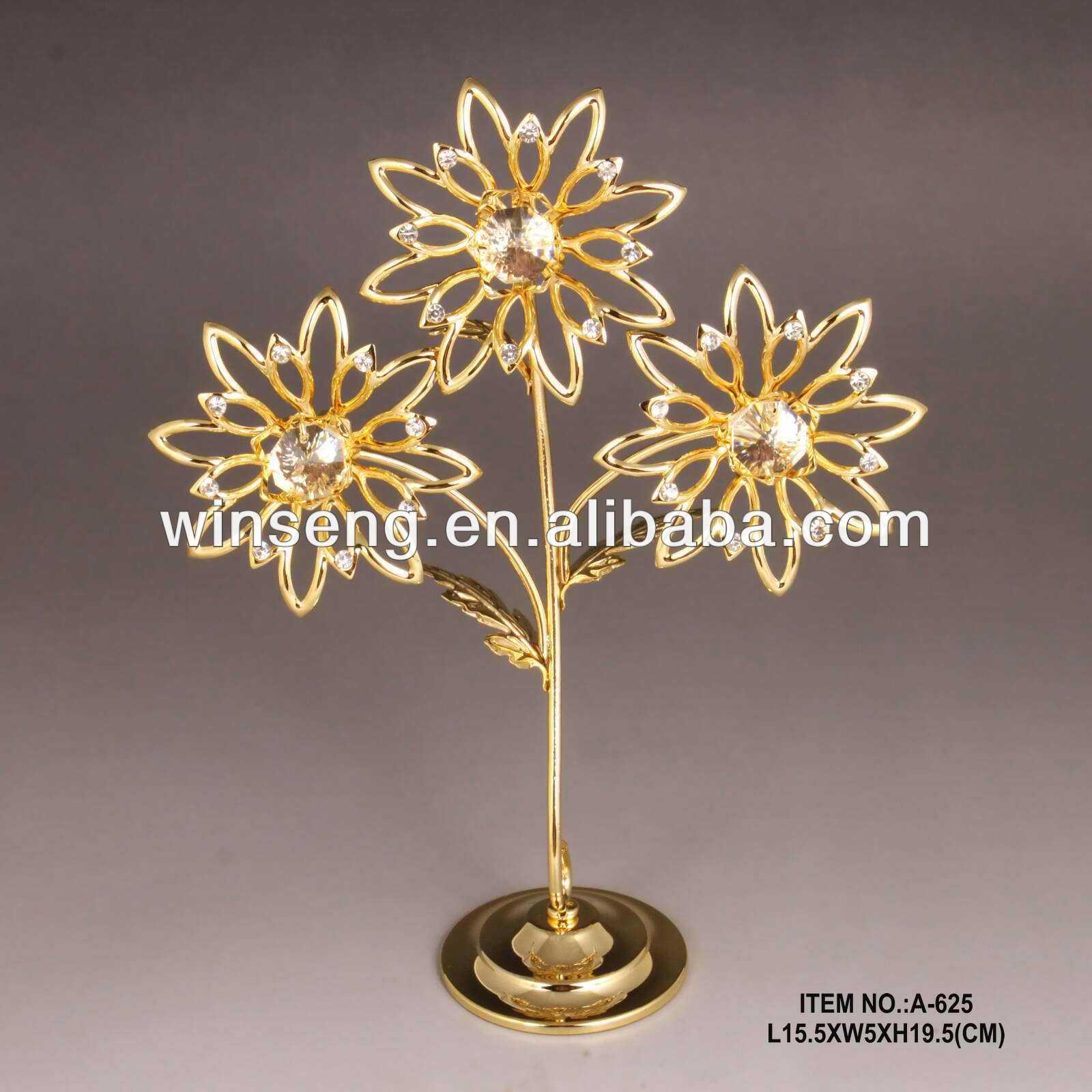 High Quality 24K gold plated artifical flower tree with crystals from swarovski