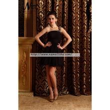 31bad4646acfd Little Black elbiseler Bir Çizgi Bir Omuz Fermuar Mini/Kısa Kolsuz Fırfır,  Rhinestone Kokteyl
