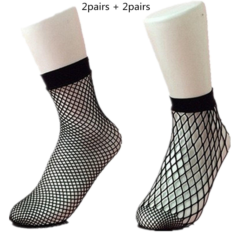 8020d4710f6 Get Quotations · Lemon-Zacker Fishnet Tube Socks Ankle Knee Socks for Women  Mesh Socks for Lady 4pairs