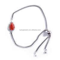 Fashion Charming 18K Gold Plated Indian Bangles Red Waterdrop Glass Bangle for Wholesale